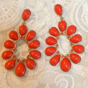 Vintage Big Orange Dangling Earrings